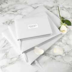 Personalised Label White Leather Wedding Guest Book