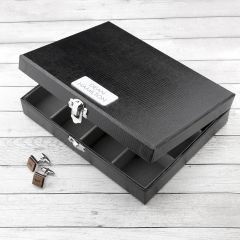 Personalised Black Leather Cufflink Box