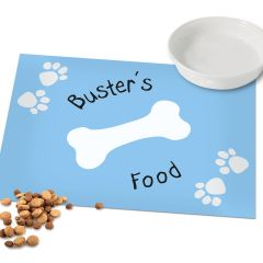 Personalised Blue Paw Print Dog Food Placemat