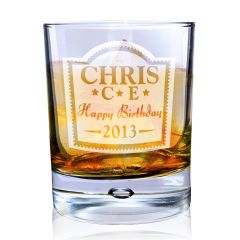 Personalised Brandy Design Tumbler Bubble Bottom Glass