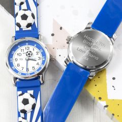 Personalised Childrens Blue Football Watch