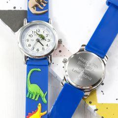 Personalised Childrens Blue Dinosaur Watch