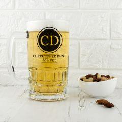 Personalised Circle Initials Monogram Glass Beer Tankard