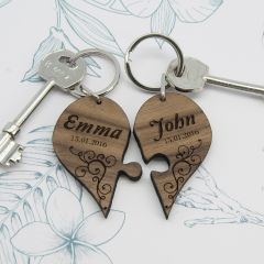 Personalised Couples' Joining Hearts Wooden Keyring