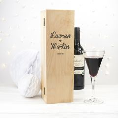 Personalised Couples Names & Date Wine Box