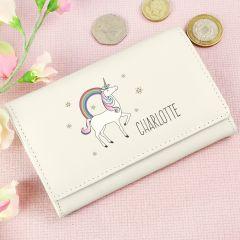 Personalised Unicorn Design Cream Purse