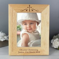 Personalised Religious Swirl Wooden Photo Frame 7x5