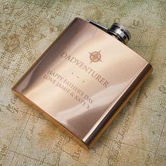 Personalised Dadventurer Copper Hip Flask