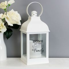 Personalised Family Name White Lantern