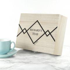 Personalised Geometric Name & Year Wooden Tea Selection Box