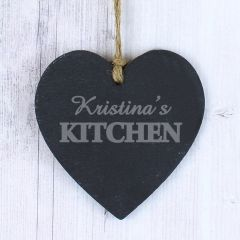 Personalised Kitchen Small Slate Heart Keepsake