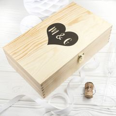 Personalised Love Heart Double Wine Box