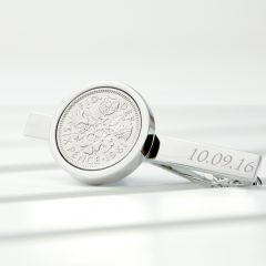Personalised Lucky Sixpence Silver Plated Tie Clip