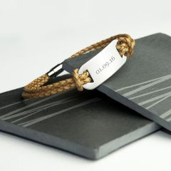 Personalised Men's Standstone Leather Bracelet
