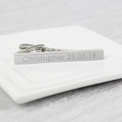 Personalised Message Silver Plated Tie Clip