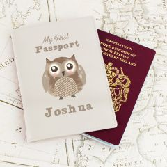 Personalised Cute Owl Cream Design Passport Holder