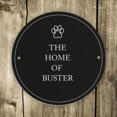 Personalised Black Round Paw Prints Dog Sign