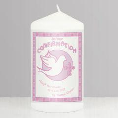 Personalised Confirmation Candle Pink Keepsake
