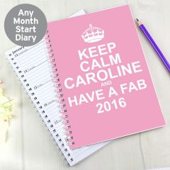 Personalised Keep Calm Pink Diary