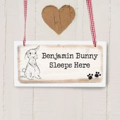 Personalised Rabbit Lives Here Wooden Sign