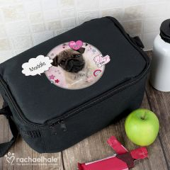 Personalised Doodle Pug Black Lunch Bag by Rachael Hale