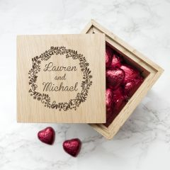 Personalised Romantic Floral Frame Oak Photo Cube Box
