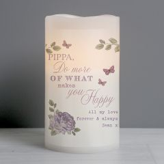 Personalised Secret Garden LED Flickering Candle