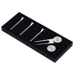 Personalised Silver Plated Golf Tees & Divot Tool Kit