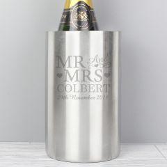 Personalised Stainless Steel Mr & Mrs Wine Cooler