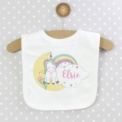 Personalised White Baby Unicorn Bib