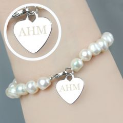 Personalised White Freshwater Pearls Initial Bracelet
