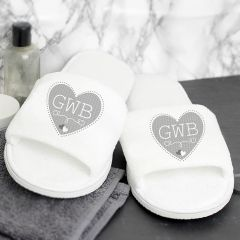 Personalised White Velour Slippers with Grey Hearts