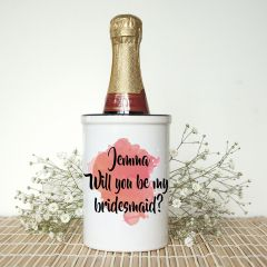 Personalised Will You Be My Bridesmaid Mini Orange Champagne Bucket