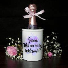Personalised Will You Be My Bridesmaid Mini Purple Champagne Bucket