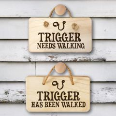Personalised Wooden Double Sided Dog Walking Sign