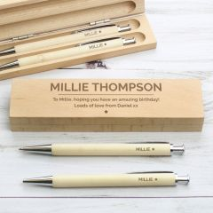 Personalised Classic Design Wooden Pen & Pencil Box Set