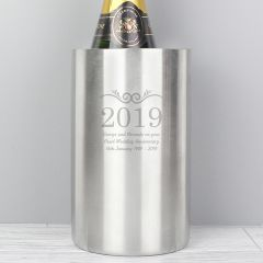 Personalised Year Stainless Steel Wine Cooler