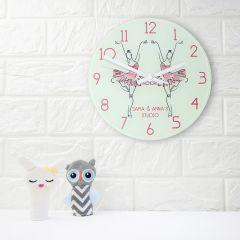 Pink Ballet Dancer Personalised Wall Clock