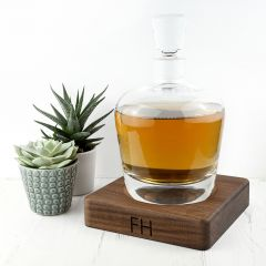 Whisky Decanter with Personalised Monogrammed Walnut Base