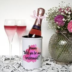Personalised Will You Be My Bridesmaid Mini Pink Champagne Bucket