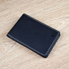 Personalised Black Leather Credit Card Holder