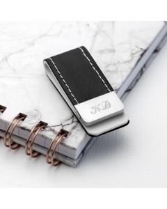 Personalised Black Leather Stitched Money Clip