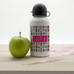 Girls Dainty Floral and Heart Personalised Water Bottle