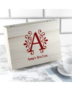 Personalised Initial Tea Box in 3 Colours