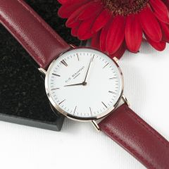 Ladies Personalised Modern Leather Watch in Berry Red