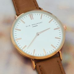 Ladies Personalised Modern Leather Watch in Camel