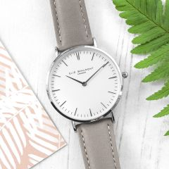 Ladies Personalised Modern Leather Watch In Grey & Silver