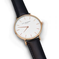 Ladies Personalised Modern Leather Watch In Black With White Dial
