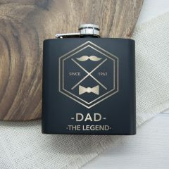 Personalised The Legend Black Hip Flask