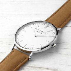 Men's Personalised Modern Leather Watch In Camel